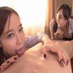 蓮実クレアと篠田ゆうが両乳首を刺激するフェラで口内射精に誘う